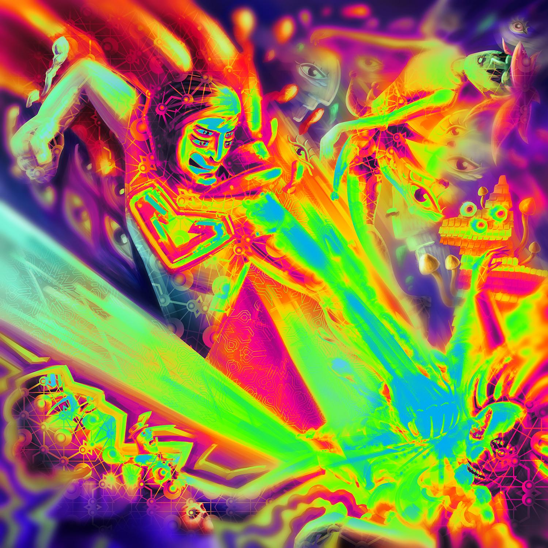 Superman on Acid Vivid Version Psychedelic Fluorescent UV-Reactive Backdrop Tapestry Blacklight Poster
