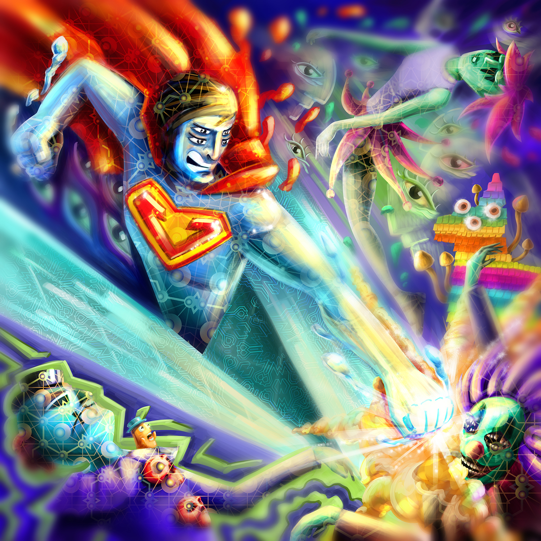 Superman on Acid Regular Version Psychedelic Fluorescent UV-Reactive Backdrop Tapestry Blacklight Poster