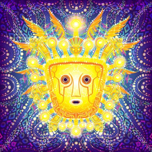 Viracocha Inca God Psychedelic Fluorescent Tapestry UV-reactive Backdrop Blacklight Poster