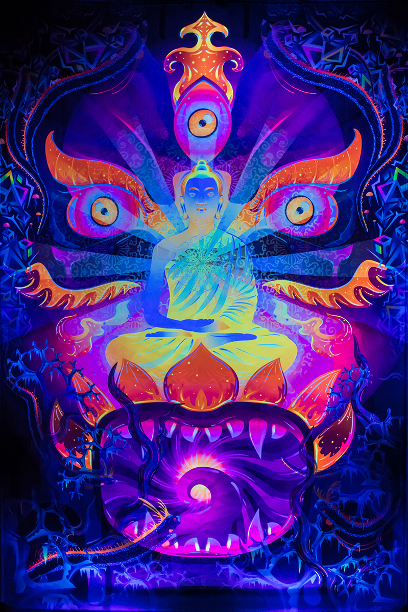 Frozen Corals Buddha Psychedelic Fluorescent UV-Reactive Tapestry Blacklight Poster UV Light Details