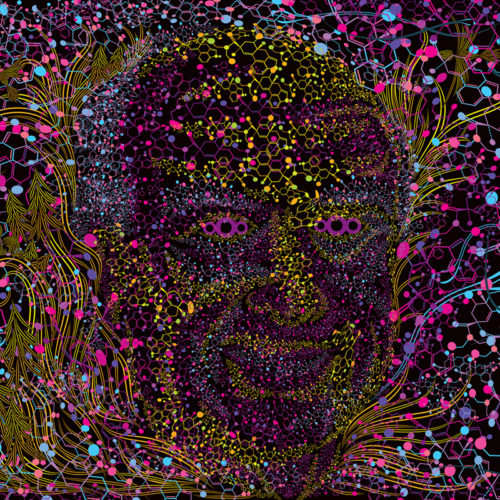 Albert Hofmann Portrait Psychedelic Fluorescent Backdrop UV Tapestry Blacklight Poster
