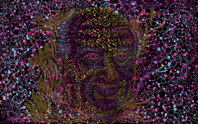 Albert Hofmann Portrait Psychedelic Fluorescent Backdrop UV Tapestry Blacklight Poster