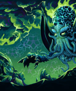 Electric Cthulhu Psychedelic Fluorescent Tapestry UV-reactive Backdrop Blacklight Poster Wall Art