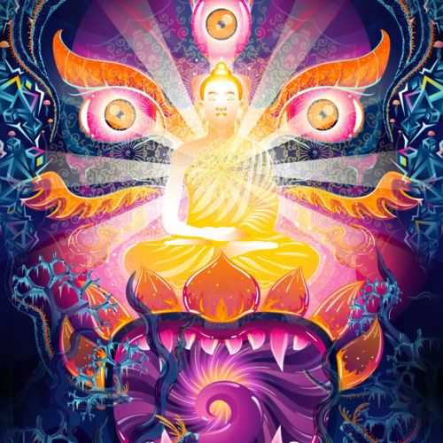 Frozen Corals Buddha Psychedelic Fluorescent UV-Reactive Tapestry Blacklight Poster Daylight