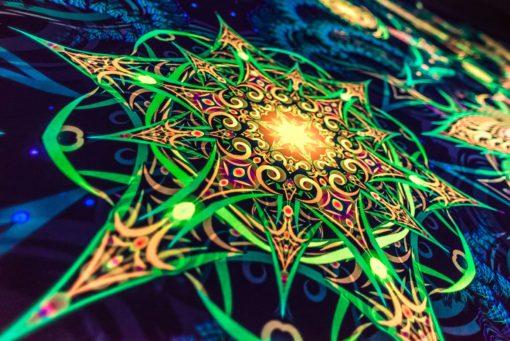 Reincarnation 2. Psychedelic Fluorescent Backdrop UV Tapestry Blacklight Poster UV Light