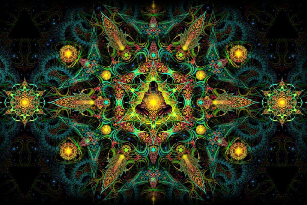Reincarnation 2. Psychedelic Fluorescent Backdrop UV Tapestry Blacklight Poster