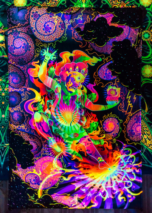Hayagriva's Eyes Psychedelic Fluorescent UV-Reactive Backdrop Tapestry Blacklight Poster UV Light details