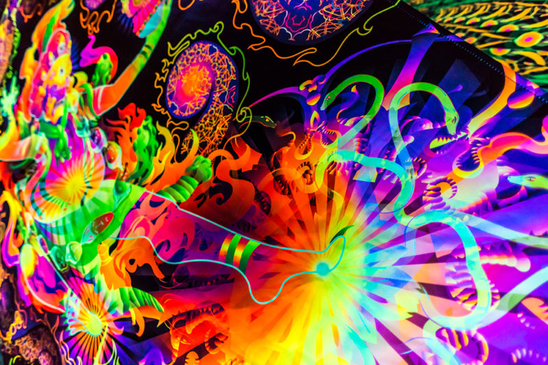 Hayagriva's Eyes Psychedelic Fluorescent UV-Reactive Backdrop Tapestry Blacklight Poster UV Light details