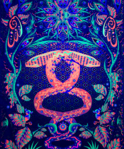 Jungle Snake Psychedelic Fluorescent UV-Reactive Backdrop Tapestry Blacklight Poster UV Light