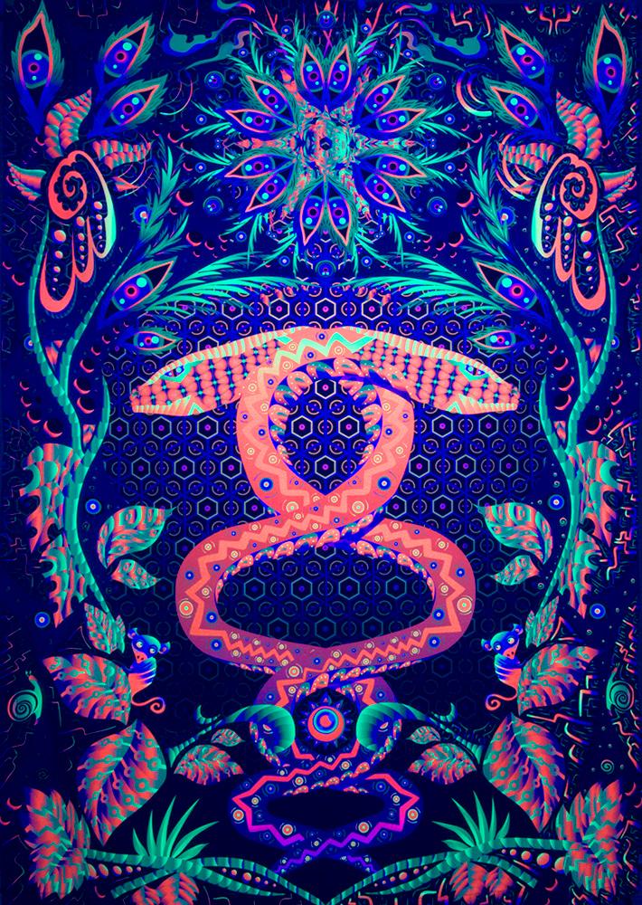 Jungle Snake Psychedelic Fluorescent UV-Reactive Backdrop Tapestry Blacklight Poster UV Light