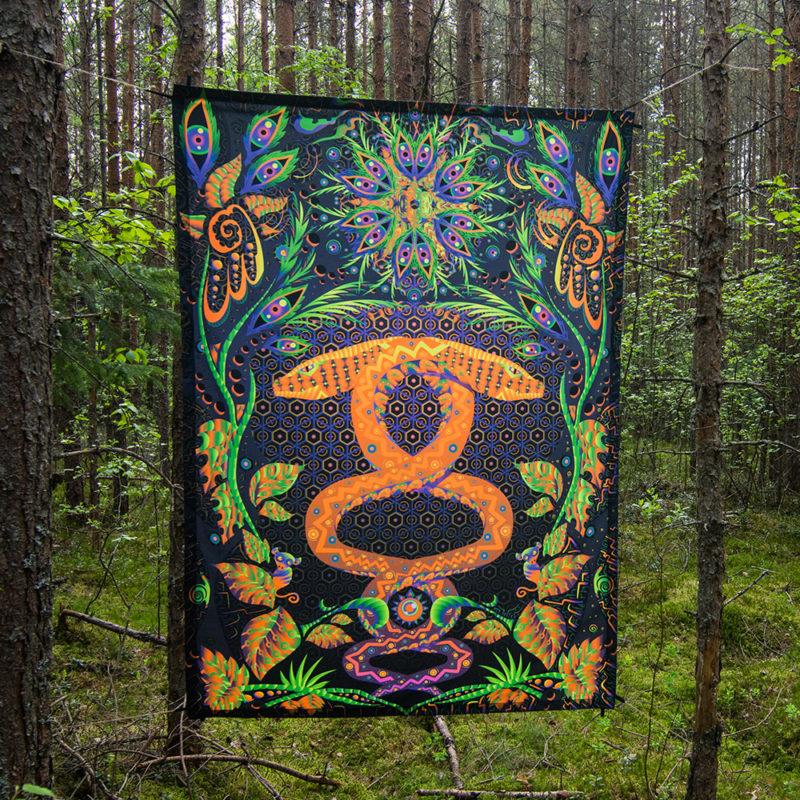 Jungle Snake Psychedelic Fluorescent UV-Reactive Backdrop Tapestry Blacklight Poster
