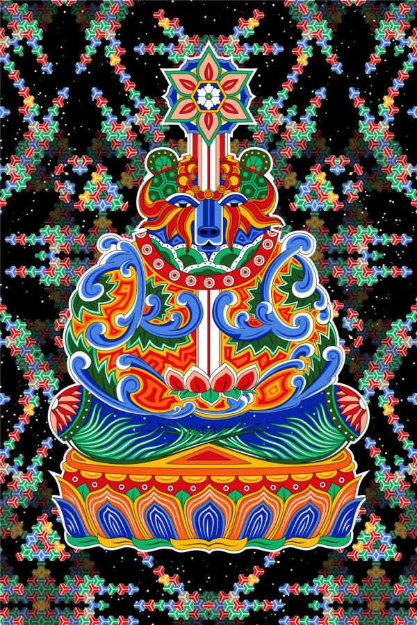 Bear Meditation Psychedelic Fluorescent Backdrop Blacklight Tapestry UV-reactive Poster