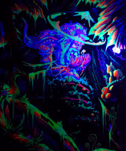 Mushroom Spirit - Psychedelic Fluorescent UV-Reactive Backdrop Tapestry Blacklight Poster UV Light
