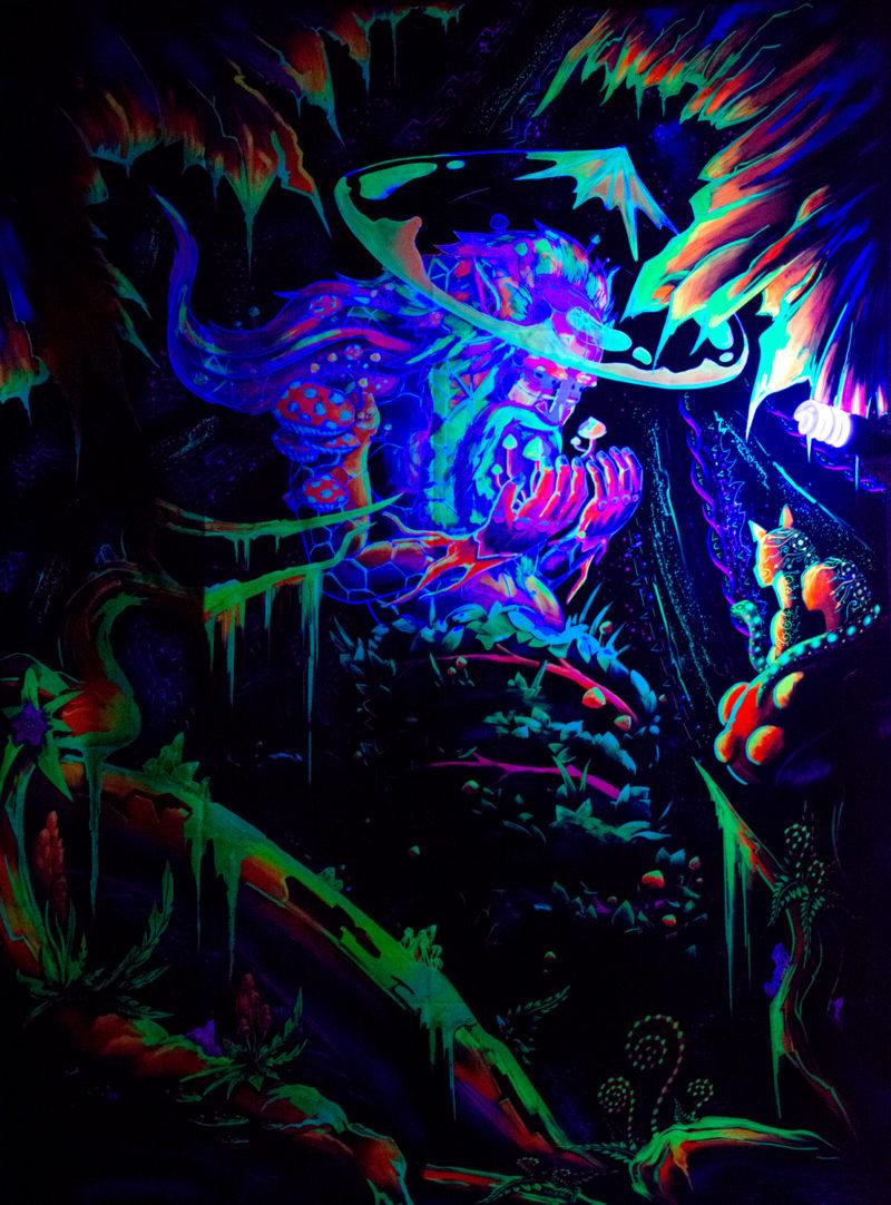 Mushroom Spirit - Psychedelic Fluorescent UV-Reactive Backdrop Tapestry Blacklight Poster UV Light