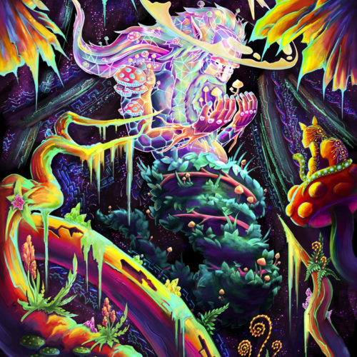 Mushroom Spirit - Psychedelic Fluorescent UV-Reactive Backdrop Tapestry Blacklight Poster
