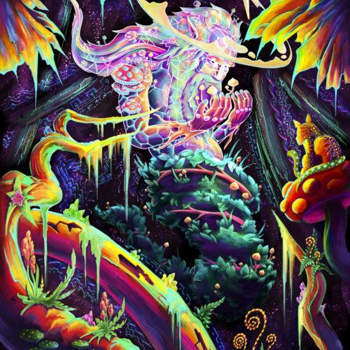 Mushroom Spirit - Psychedelic Fluorescent UV-Reactive Backdrop Tapestry Blacklight Poster