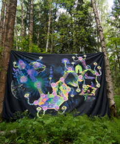 Psilocybin World Psychedelic Fluorescent UV-Reactive Backdrop Tapestry Blacklight Poster in the Forest