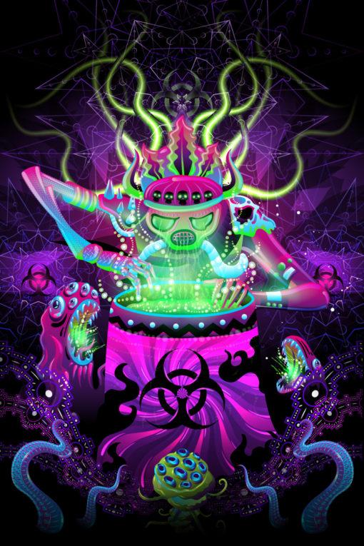 Post Apocalypse Shaman Psychedelic Fluorescent UV-Reactive Backdrop Tapestry Blacklight Poster