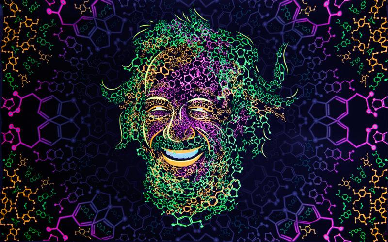 Alexander Shulgin Portrait Psychedelic Fluorescent Backdrop Tapestry Blacklight Poster