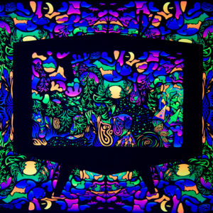 Trippy TV Psychedelic Fluorescent Backdrop UV Tapestry Blacklight Poster UV Light Full