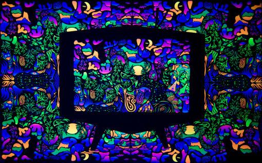 Trippy TV Psychedelic Fluorescent Backdrop UV Tapestry Blacklight Poster UV Light Full