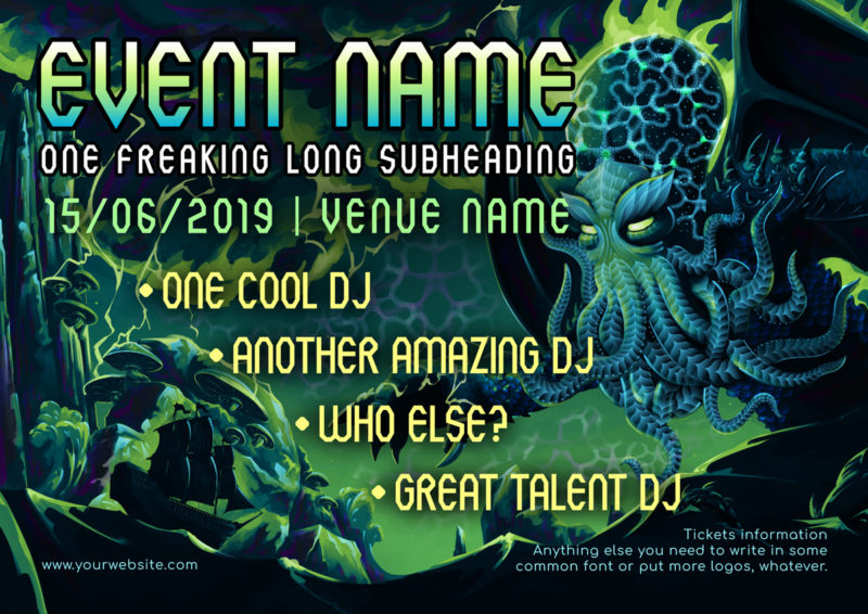 Electric Cthulhu Psychedelic Trance Party Promo A5 Flyer Template