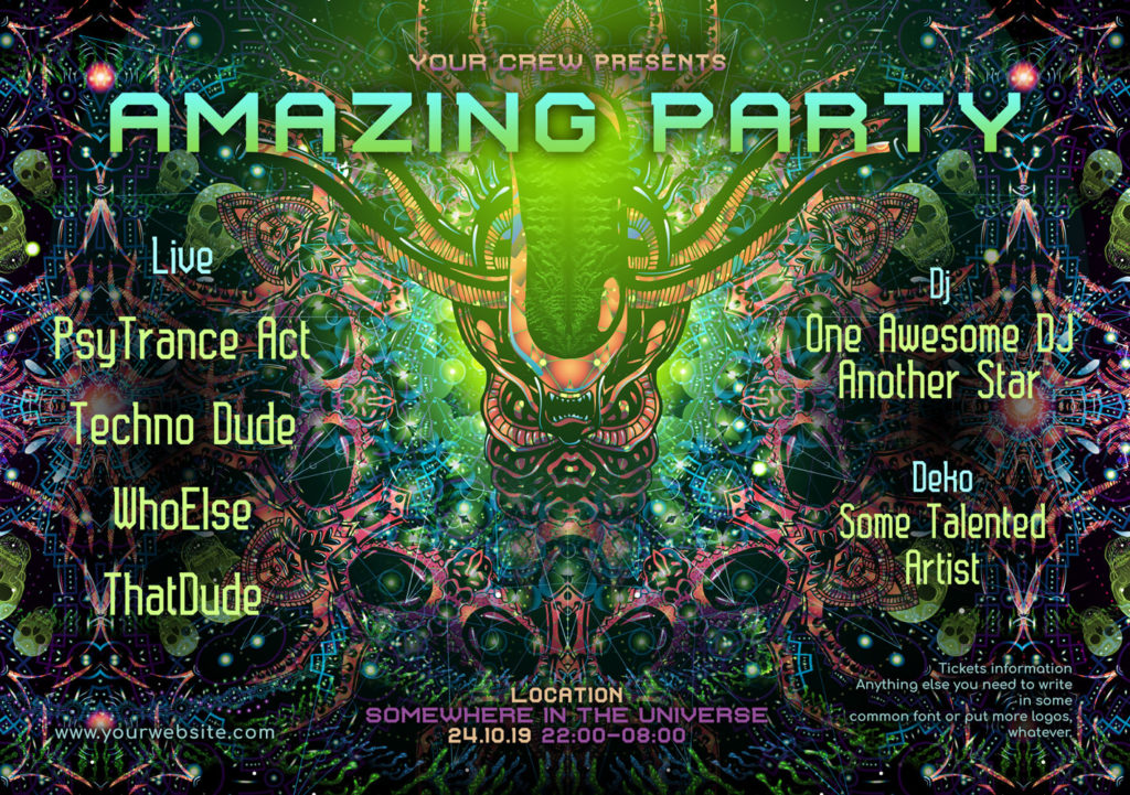 Alien Enlightenment Psychedelic Trance Party Promotion A5 Flyer Template