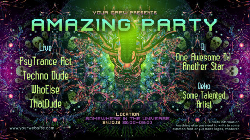 Alien Enlightenment Psychedelic Trance Party Promotion Facebook Event Cover Template