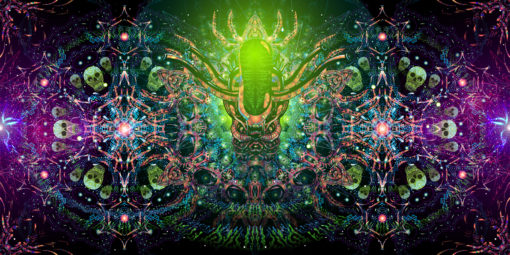 Alien Enlightenment Psychedelic UV-Reactive Tapestry Fluorescent Backdrop