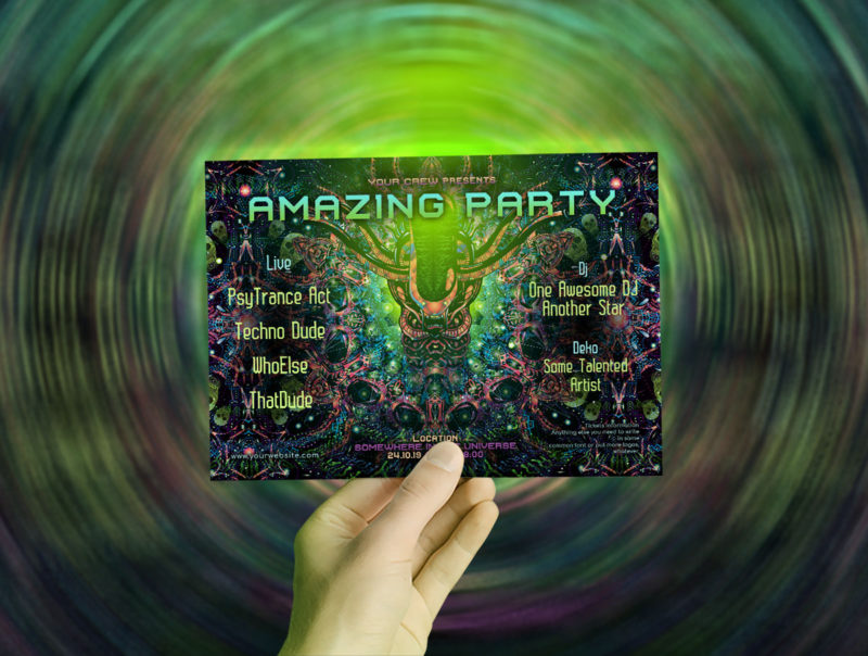Alien Enlightenment Psychedelic Trance Party Promotion A5 Flyer Mockup