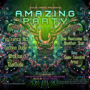 Alien Enlightenment Psychedelic Trance Party Promotion Instagram Post