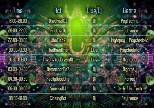Alien Enlightenment Psychedelic Trance Party Promotion Timetable