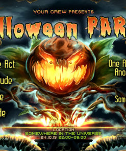 Halloween DJ Psychedelic Trance Party A5 Flyer Template