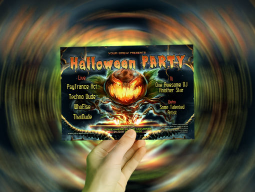 Halloween DJ Psychedelic Trance Party A5 Flyer Mockup