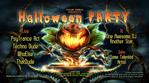 Halloween DJ Psychedelic Trance Party Facebook Event Cover Template