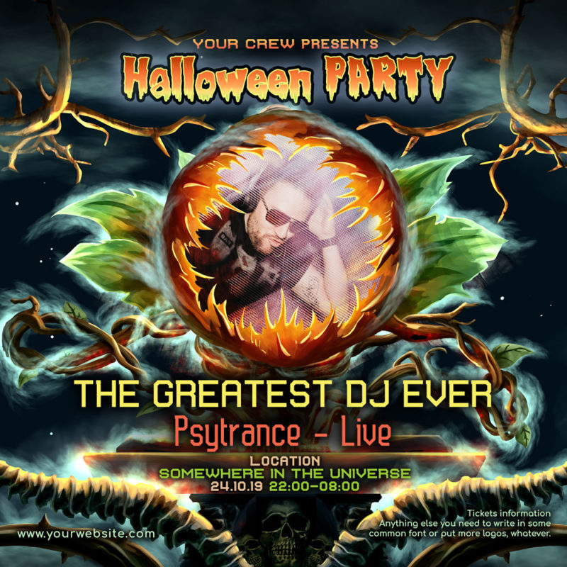 Halloween DJ Psychedelic Trance Party Instagram Featured Artist Post Template