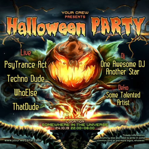 Halloween DJ Psychedelic Trance Party Instagram General Post Template