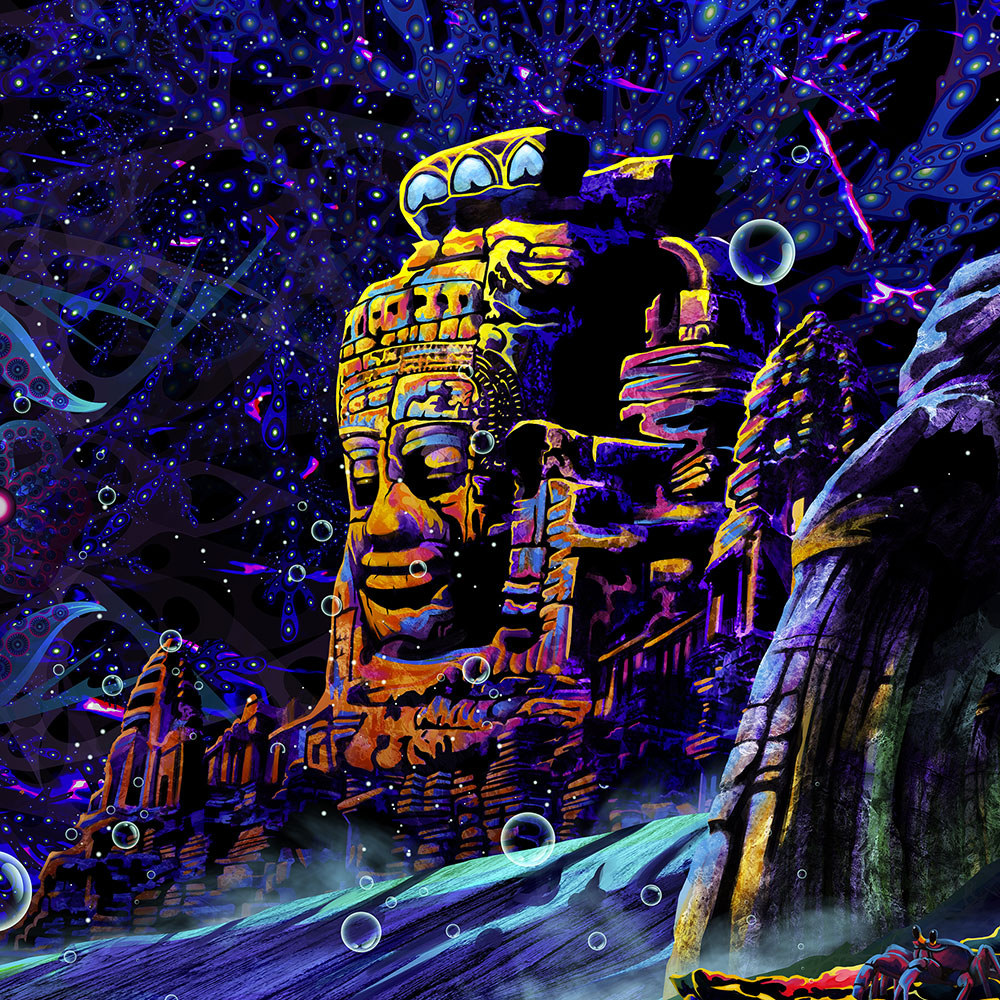 Epic Underwater Kingdom UV Reactive Psychedelic Tapestry Backdrop Closeup