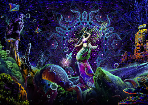 Epic Underwater Kingdom - Psychedelic UV-reactive Art by Andrei Verner