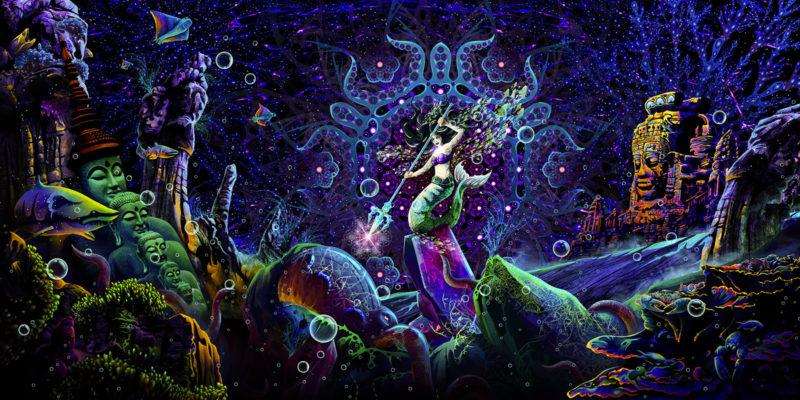 Epic Underwater Kingdom UV Reactive Psychedelic Tapestry Backdrop