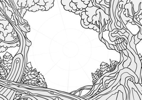 Waldfrieden Wonderland Festival 2020 - Facebook Event Cover Detailed Sketch - by Andrei Verner
