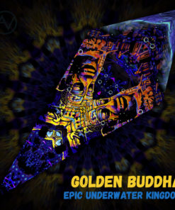 "Epic Underwater Kingdom - Psychedelic UV-Reactive Canopy - Petal Design - ""Golden Buddha"""