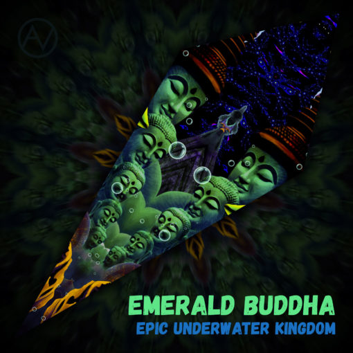 "Epic Underwater Kingdom - Psychedelic UV-Reactive Canopy - Petal Design - ""Emerald Buddha"""