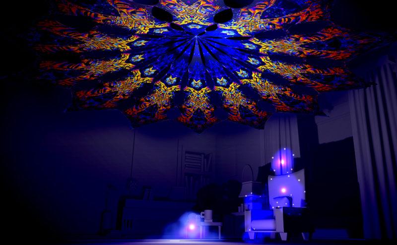 Ocean Psychedelic UV-Reactive Canopy - 12 Petals Set - Golden Buddha Temple Design