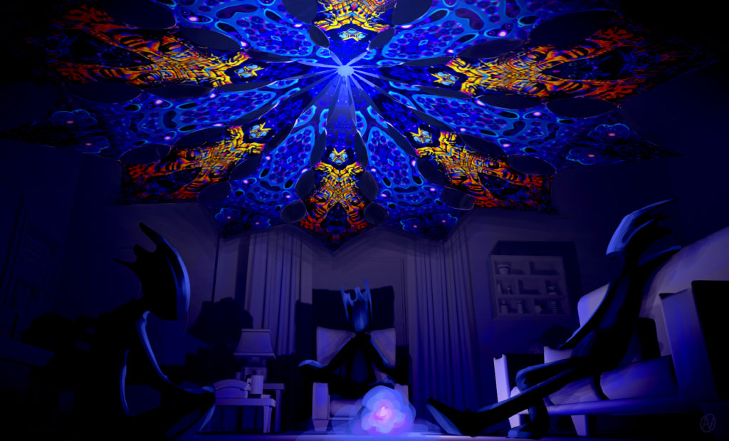 Ocean Psychedelic UV-Reactive Canopy - 12 Petals Set - Golden Buddha Temple and Deep Sea Designs