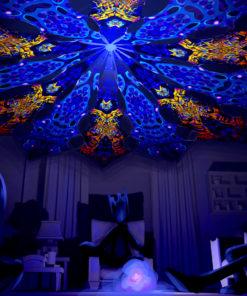 Ocean Psychedelic UV-Reactive Canopy - 12 Petals Set - Golden Buddha Temple and Deep Sea Designs