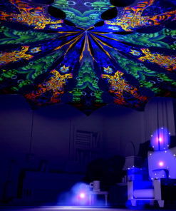 Ocean Psychedelic UV-Reactive Canopy - 12 Petals Set - Golden Buddha Temple and Emerald Buddha Temple Designs