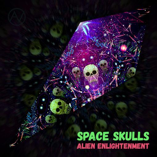 """Alien Enlightenment - Psychedelic UV-Reactive Canopy - Petal Design - """"Space Skulls"""""""