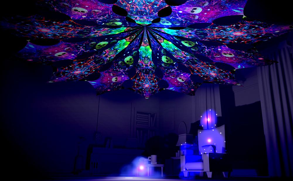 Space Skulls and Alien Galaxy Canopy Petal Design UV-Reactive Print