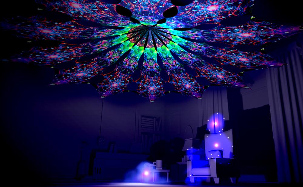 Alien Galaxy Canopy Petal Design UV-Reactive Print